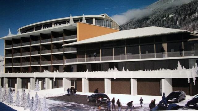 Visualisaziun dal project da hotel da quatter stailas a Savognin.