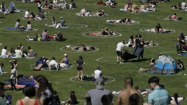 Persunas en in parc separadas.