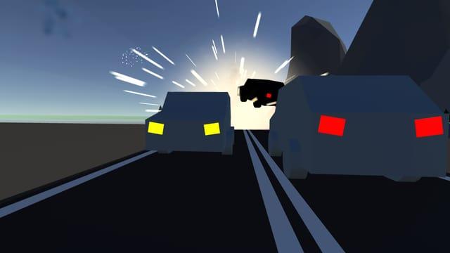 Spielgrafik: Zwei Autos fahren sich auf einer dunkeln Strasse entgegen. Im Hintergrund verunfallt ein drittes Auto.