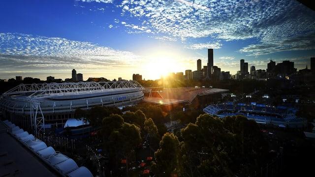 Luftaufnahme während dem Sonnenuntergang vom Melbourne Park.