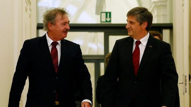 Luxemburgs Aussenminister Jean Asselborn (links) und sein österreichischer Kollege Michael Spindelegger