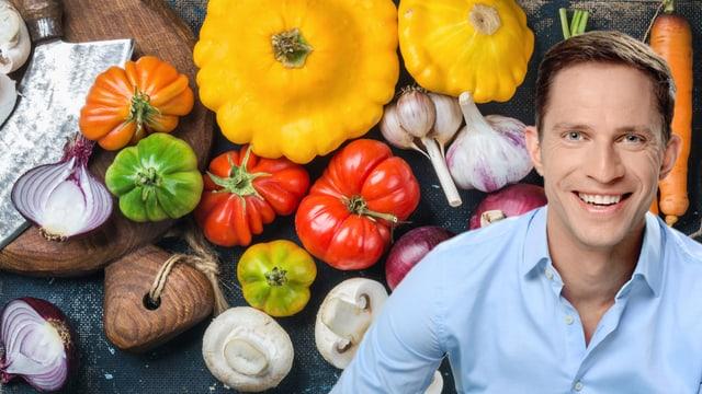 Adrian Küpfer mit Gemüse