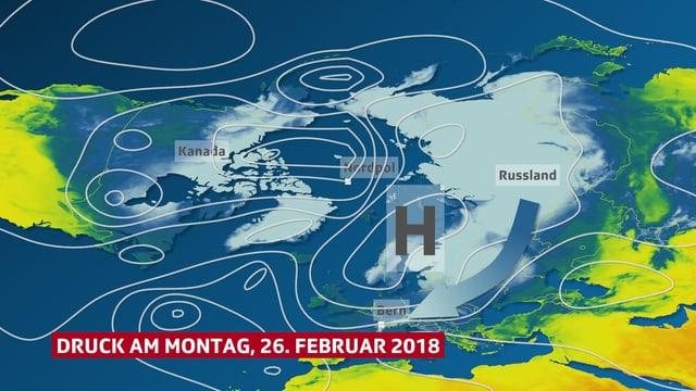 Karte mit kalten Russland und Pfeil zur Schweiz
