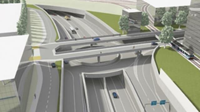 Animation des Autobahn-Anschlusses Biel-Centre