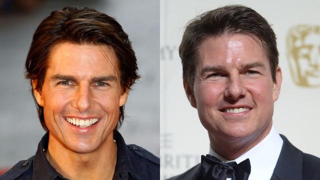 Porträt von Tom Cruise früher und heute.