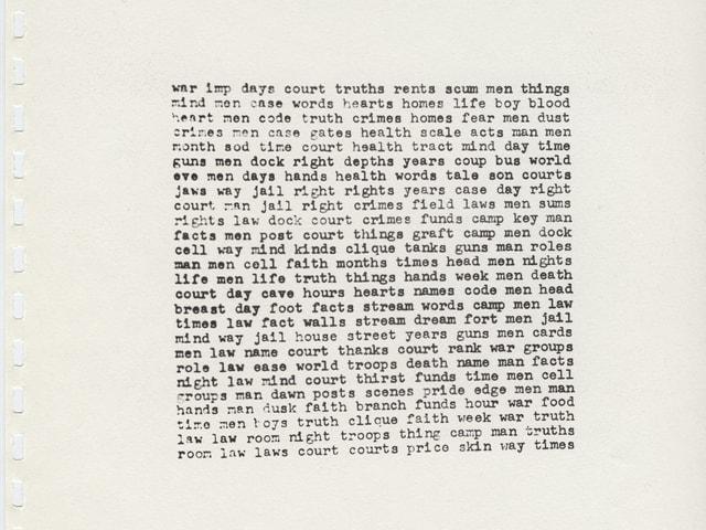 Gedichtblatt von Carl Andre von 1966.
