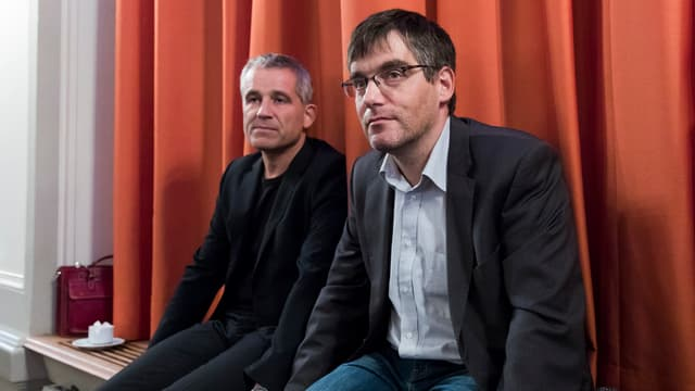 SP-Nationalrat Beat Jans und Fraktionschef Roger Nordmann an der DV vom 29.9.2018 in Olten.