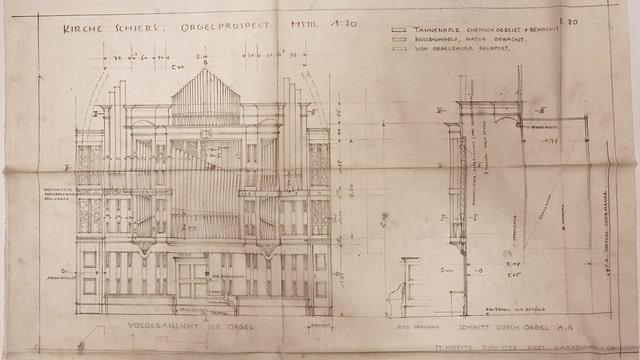 Ein Plan vom Orgel-Architekt Nicolaus Hartmann der Orgel in der Kirche Schiers.