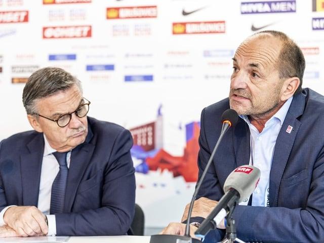 Stehen vor einer zentralen Entscheidung: IIHF-Präsident René Fasel und OK-Chef Eishockey-WM Gian Gilli.