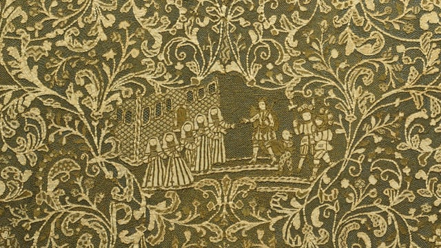 Spitzen-Textil mit Darstelllung von Figuren