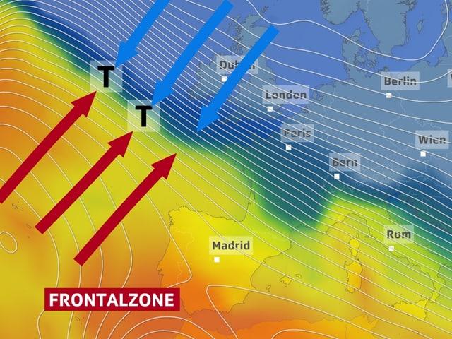 Warme Luft und kalte Luft treffen im Atlantik aufeinander.