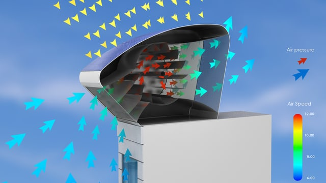 Die Windturbine: ein Trapez aus Metall, darin die Windturbine.