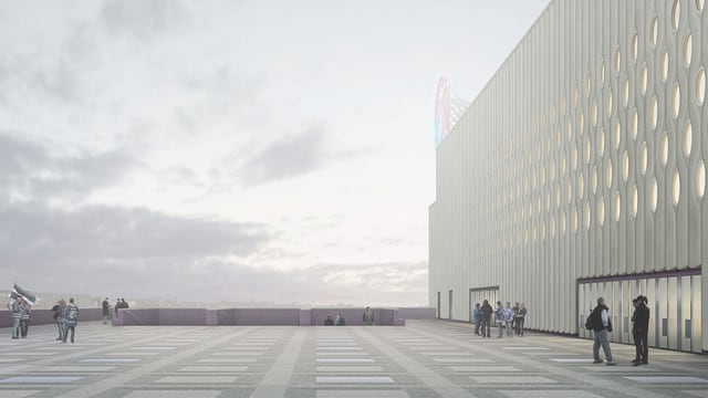 Visualisierung der Aussenfassade des neuen Eishockeystadions «Theatre of Dreams»