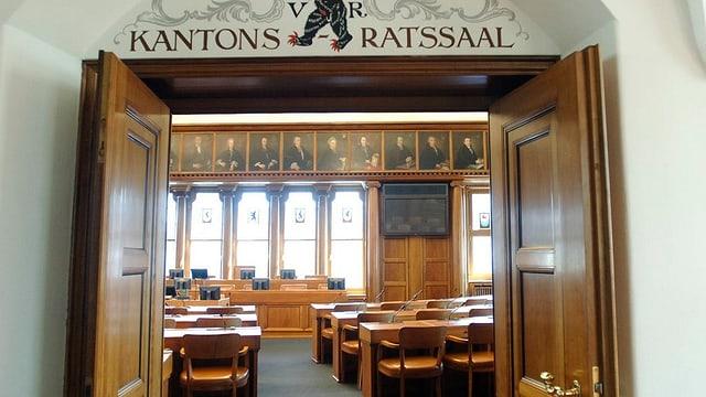 Blick in den Kantonsratssaal im Regierungsgebaeude in Herisau.