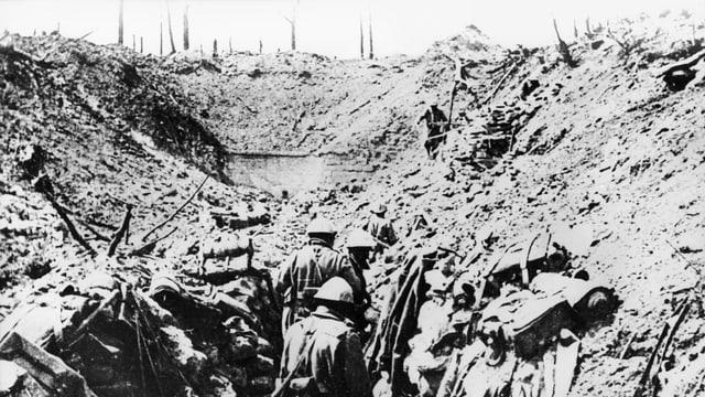Schlacht von von Verdun. Kämpfer im Schützengraben bei The Vaux Fort, 1916.