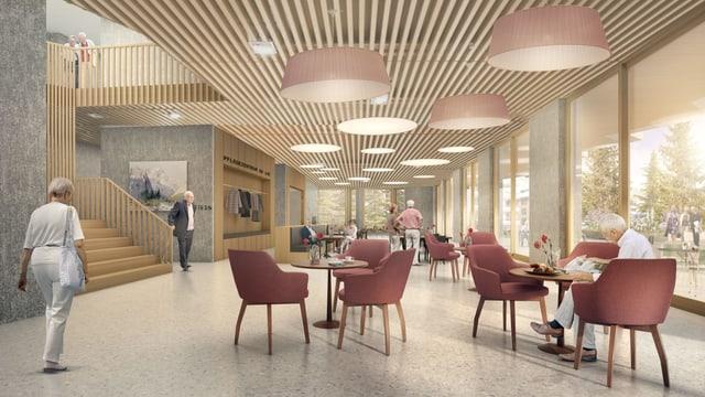 Visualisaziun da la cafetaria publica en plaunterren - in spazi avert cun grondas fanestras, maisas rodundas e sopias cotschnas.