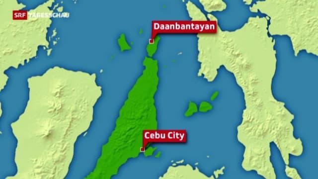 Karte der Insel Cebu mit den Städten Cebu City und Daanbantayan eingezeichnet.