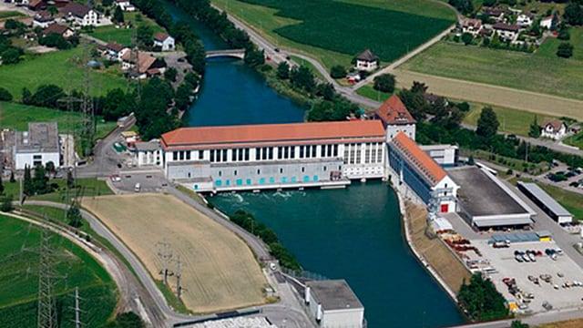 Luftaufnahme Flusskraftwerk Gösgen