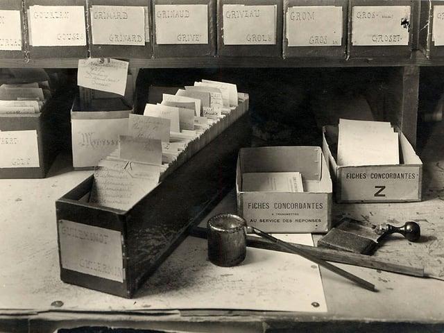 Eine Schublade voller Karteikarten. Daneben Schreibwerkzeug.