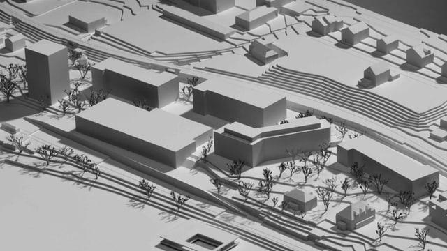 Modell der geplanten Überbauung auf dem Areal des alten Kantonsspitals Zug. Im Vordergrund das neue Kunsthaus.