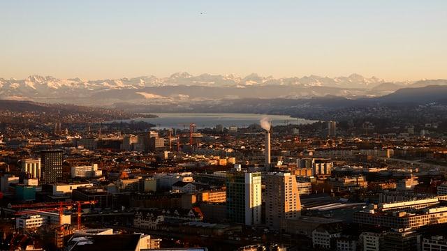 Blick auf Zürich Richtung Zürichsee