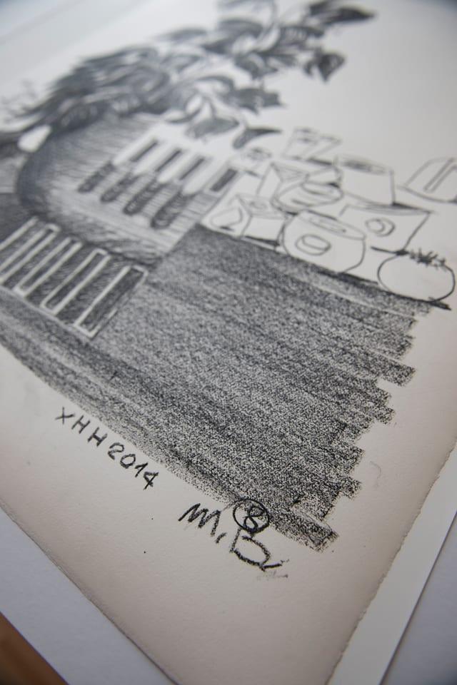 Ölkreidezeichnung von Mario Botta.