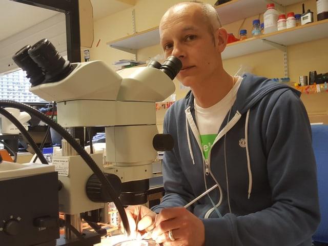 Matthias Landgraf am Mikroskop
