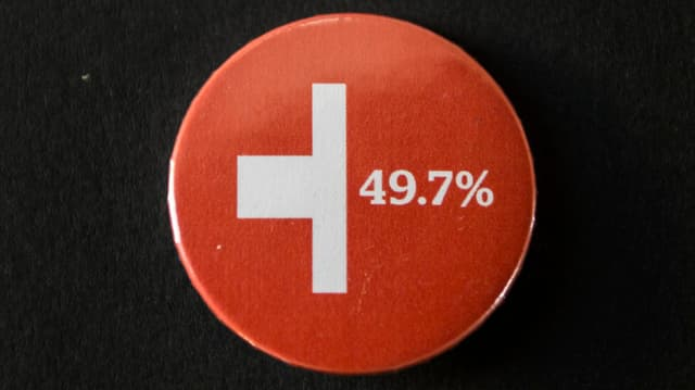 Halbiertes Schweizerkreuz mit der Zahl 49,7 %.