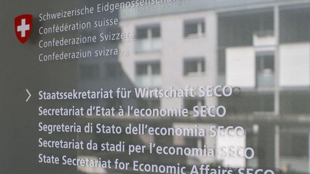 Insccripziun dal SECO vi d'in isch.