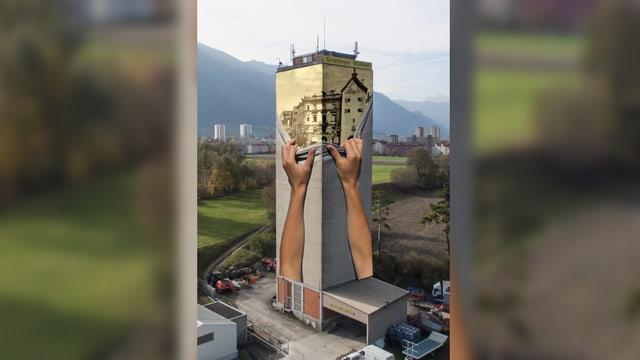 Turm besprayt