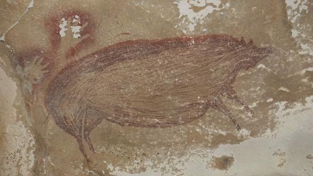 Malerei eines grossen Schweines, daneben zwei Umrisse von menshclichen Händen