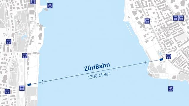 Eine Karte zeigt die geplanten Stationen und Masten für die «ZüriBahn»