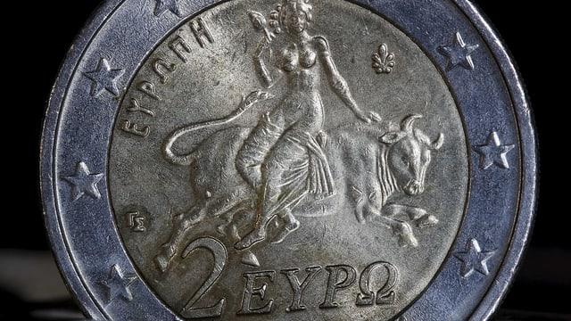 Zwei-Euro-Münze mit greichischer Prägung