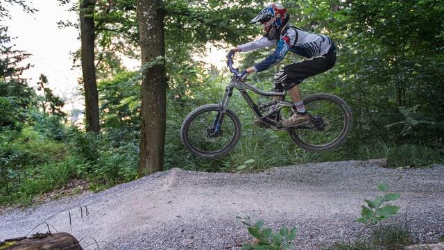Mountainbiker in Aktion. Fährt einen Waldweg hinunter.