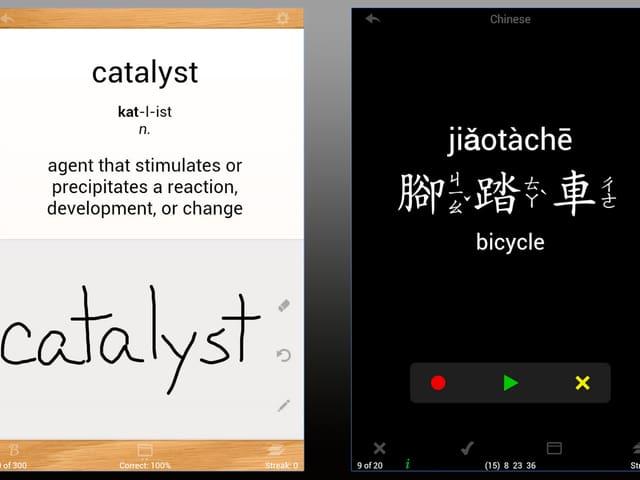 Zwei Besipielkarten aus der App, links Spanish-English, rechts Chinesisch-English