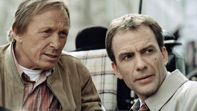 Privatdetektiv Josef Matula und Rechtsanwalt Dr. Lessing in einer undatierten Aufnahme. (keystone)