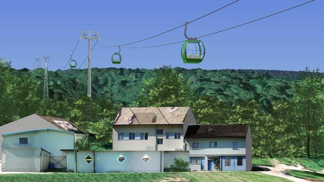 Ein Gondelbahn, im Hintergrund Haus und Wald