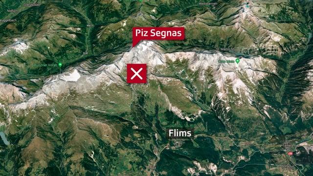 Kartenausschnitte auf dem der Piz Segnas sowie die Absturzstelle eingezeichnet ist.