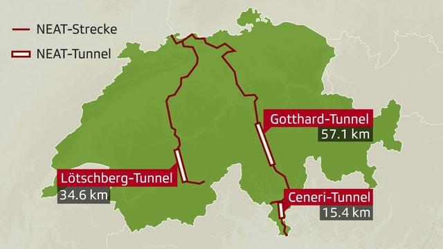Karte mit den drei Tunnel.