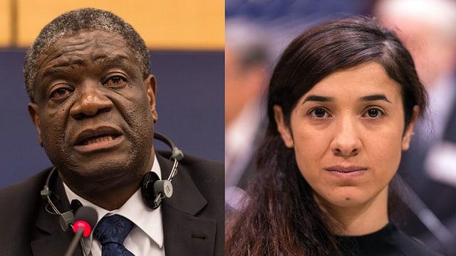 purtret da Denis Mukwege e Nadia Murad