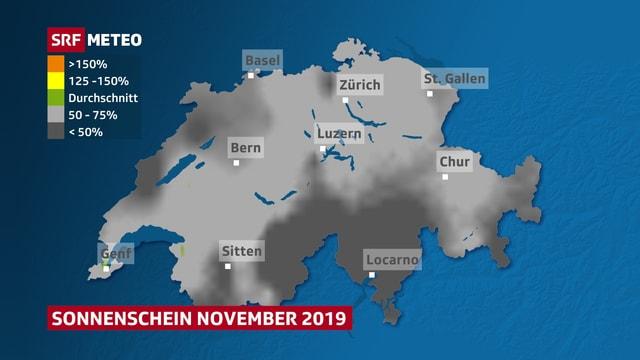 Hell- und dunkelgrau schattierte Karte der Schweiz.