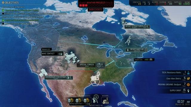 Auf einer Weltkarte Missionen auswählen.