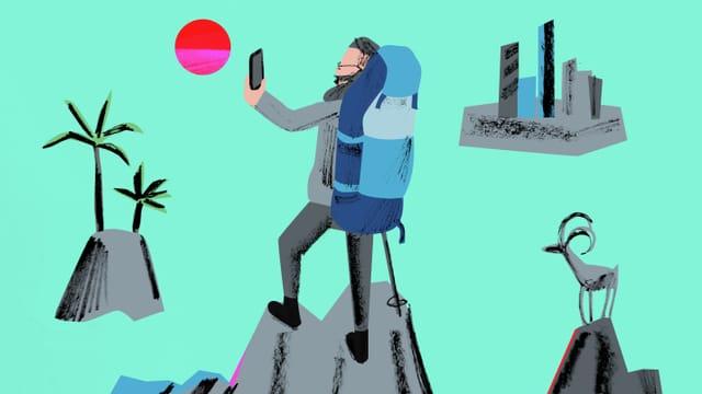 Illutstration: Gottfried Keller wandert und schiesst ein Selfie auf einem Berg.