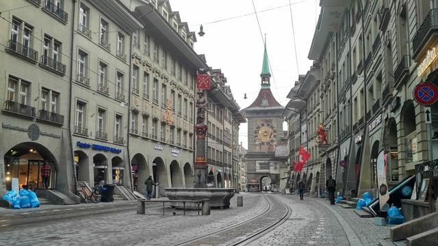 Leere Berner Altstadt.