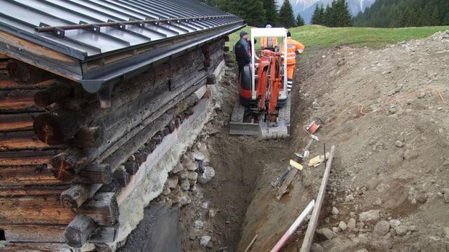 Bauarbeiten am Maiensäss