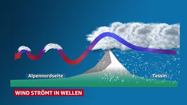 Eine Grafik zeigt ein vereinfachtes Höhenprofil durch die Schweiz von Süden nach Norden. Vom Tessin geht ein Windpfeil über die Alpen. Dahinter ist der Windpfeil wellenförmig. Bei den Wellenbergen hat es jeweils eine eingezeichnete Föhnwolke.