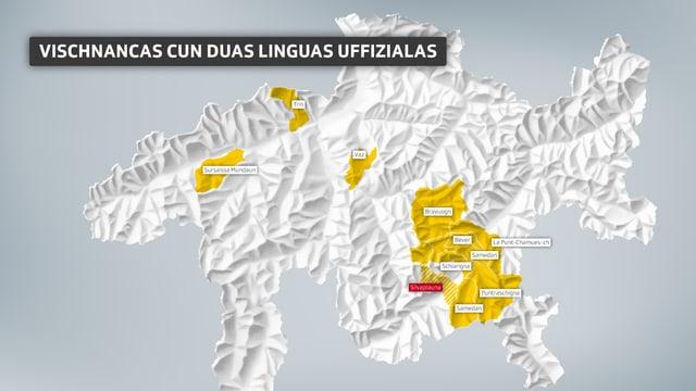 Charta geografica dal Grischun cun nudà las vischnancas che han duas linguas uffizialas.
