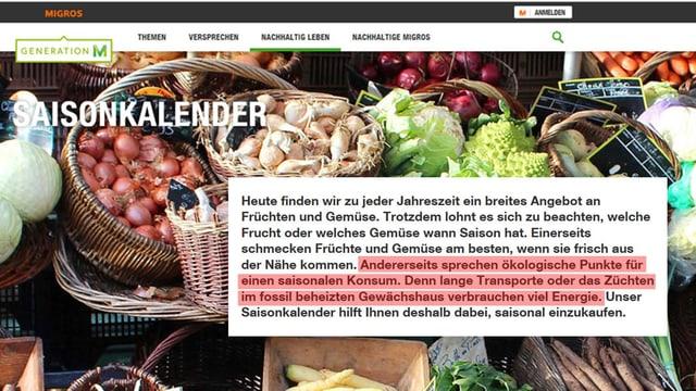 Auszug aus dem Online-Saisonkalender, wo für saisonale Früchte geworben wird.