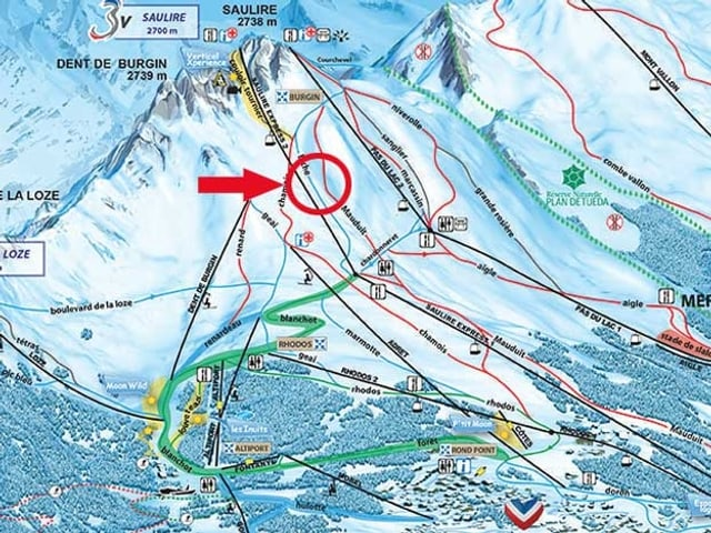 Das Skigebiet von Méribel mit einem roten Keis um die Unfallstelle von Michael Schumacher