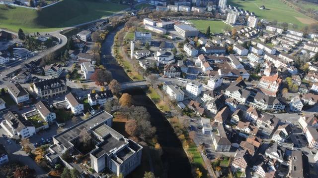 Die Thur in Wattwil - ein Bild aus der Luft